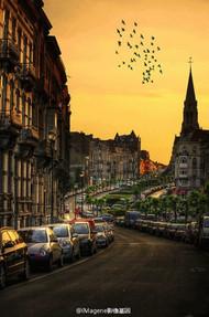 布鲁塞尔黄昏的街道