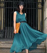 2012新款春装夏季新品 绝美孔雀绿 双层雪纺超大摆长裙雪纺连衣裙