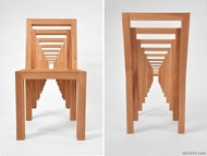 这是罗德岛设计学院学生vivian chiu设计的概念椅子,共有10把大大小小的框架椅子,从大到小层层嵌套,大框套小框,用来连接的凹槽结构显然受到了益智类积木玩具的启发,非常巧妙。更加令人称道的是组合后椅子从各个角度呈现的视觉效果都是不一样的,很有建筑的体量感和韵律感,非常漂亮。