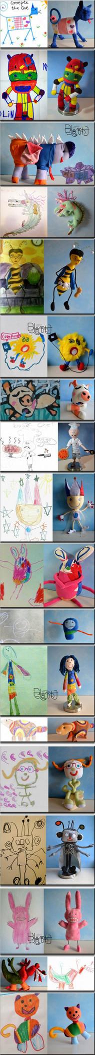 【伟大的母爱】一切来自一个真实的灵感,一位母亲把她四岁儿子的涂鸦做成长毛绒玩具,真是让人感动的创意!