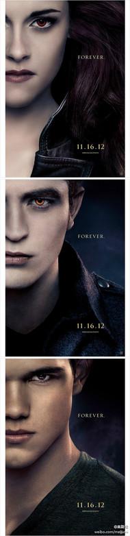 电影《暮光之城4:破晓(下)》(The Twilight Saga: Breaking Dawn – Part 2)发布角色海报!2012年11月16日在北美上映。