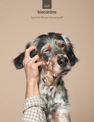 """一款名为Biocanina的宠物护理产品广告,文案""""Love him like you love yourself """"(爱他就像爱自己),创意来自法国Leg广告公司"""